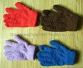 Honest quality  polar fleece Fuzzy  gloves with Embroidery 4