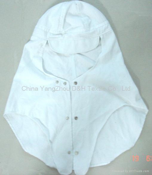 White Cotton Earflap Cloak cap with clip 2