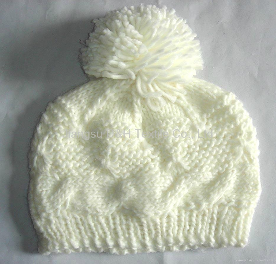 Fashion Ladies' Knitted Hat with Pompom/Crochet Hats  4