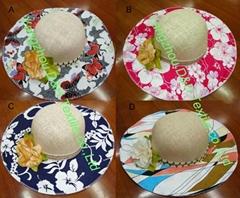 Print Fashion Ribbon Straw Hat/Large Brim Women Beach Hat