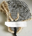 Winter Plaid Trooper Hat /Micro Fiber With Faux Fur Earflap Warm Hat