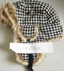 Winter Plaid Trooper Hat /Micro Fiber With Faux Fur Earflap Warm Hat