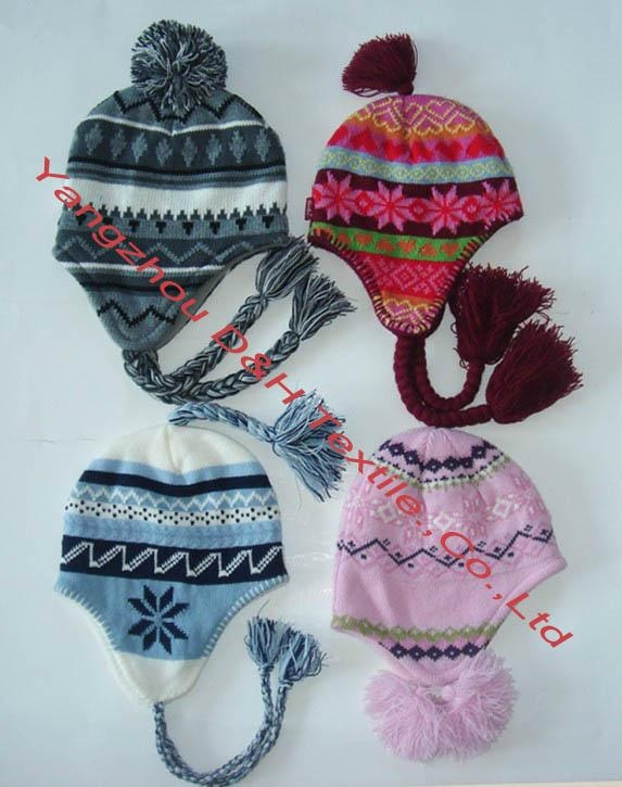 Quality Jacquard Knitted Hat with Ear Flaps &Poms 4