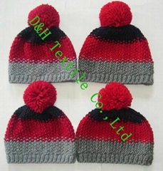 Crochet Hat, Thick Knitted Gague Beanie with Braid (DH-CT-451C)