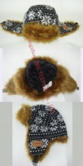 Winter Plaid Trooper Hat /Fashion fabric With Faux Fur Earflap Warm winter Hat