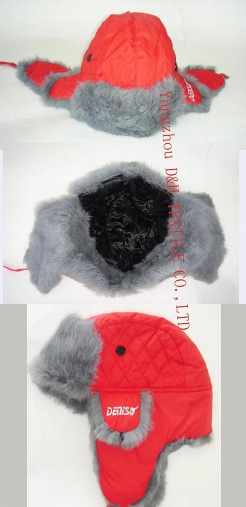 Winter Plaid Trooper Hat /Micro Fiber With Faux Fur Earflap Warm Hat 1