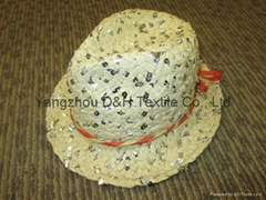 Popular Girl Paper Straw Hat with Sequins (DH-LH9112)