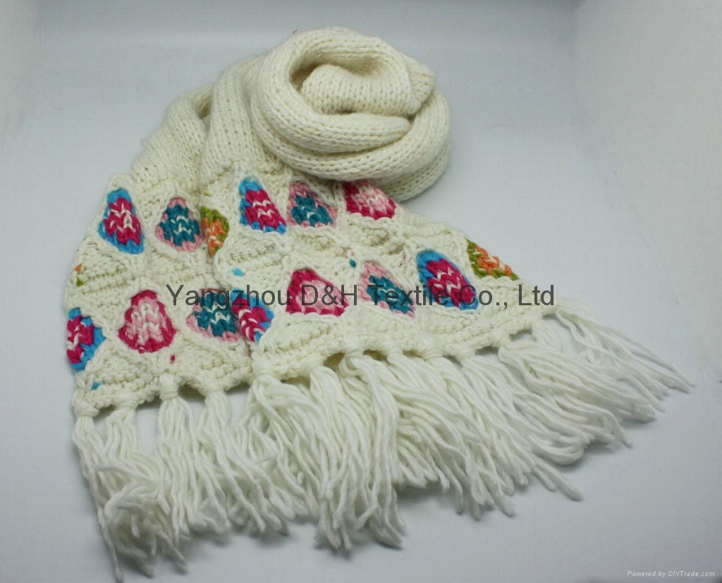 Popular White Cotton Knitted Scarf/Warm Scarf