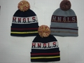 3A Quality Jacquard Knitted Hat with POM-POM