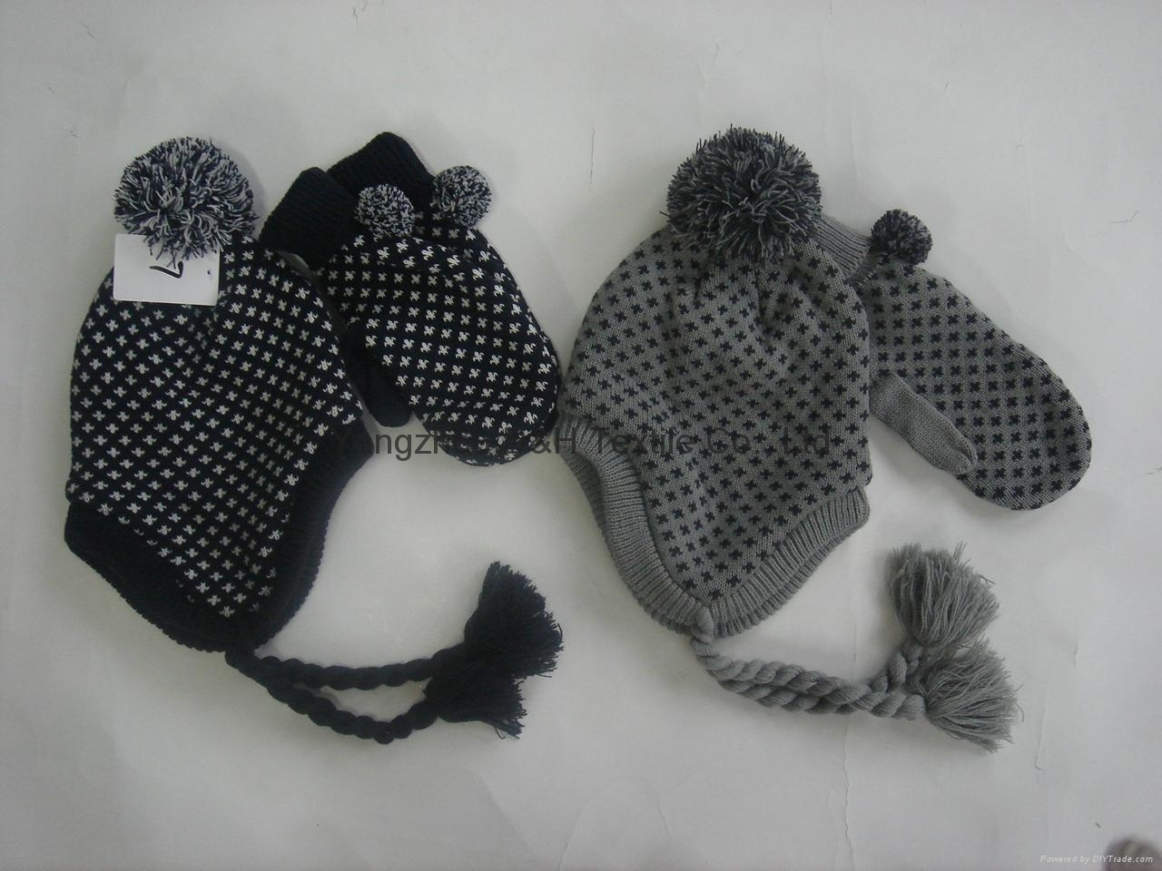 Quality Jacquard Knitted Hat with Ear Flaps &Poms 3