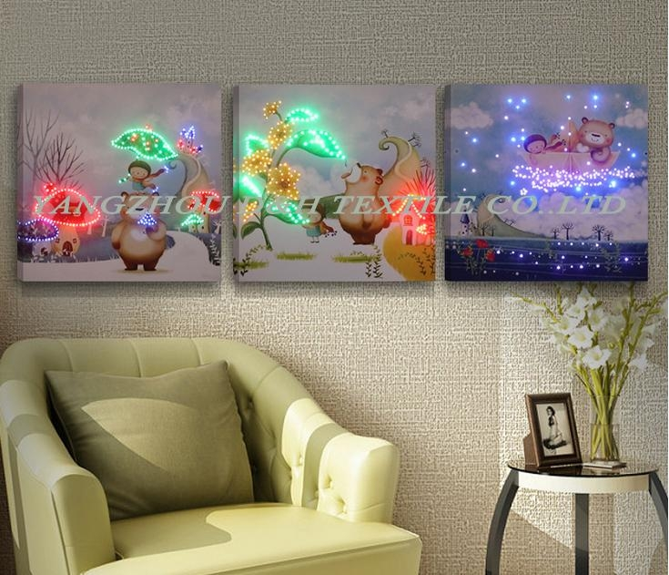2016 HOT Optical Fiber painting decoration painting dynamic frameless painting 3