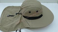 White Cotton Earflap Cloak cap with clip