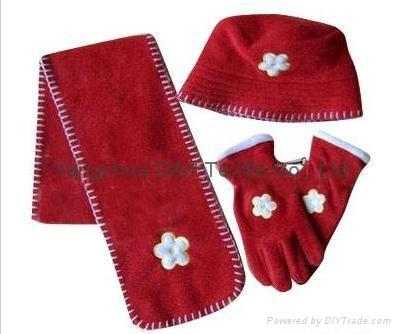 Hot Polar Fleece Sets/Hat/Gloves/Scarf 3