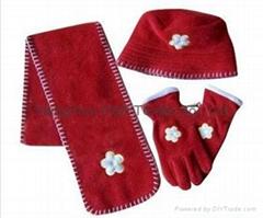 Hot Polar Fleece Sets/Hat/Gloves/Scarf