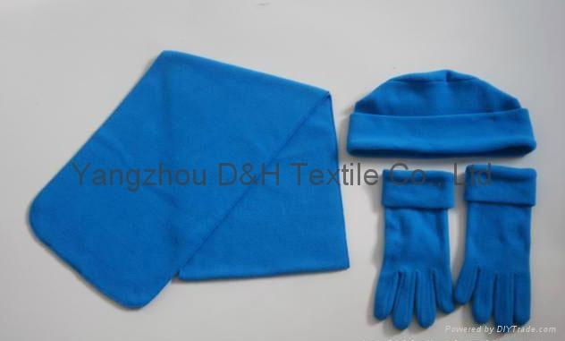Polar Fleece Beanie glove scarf Set/Warm set 3