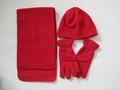 Polar Fleece Beanie glove scarf Set/Warm set 2