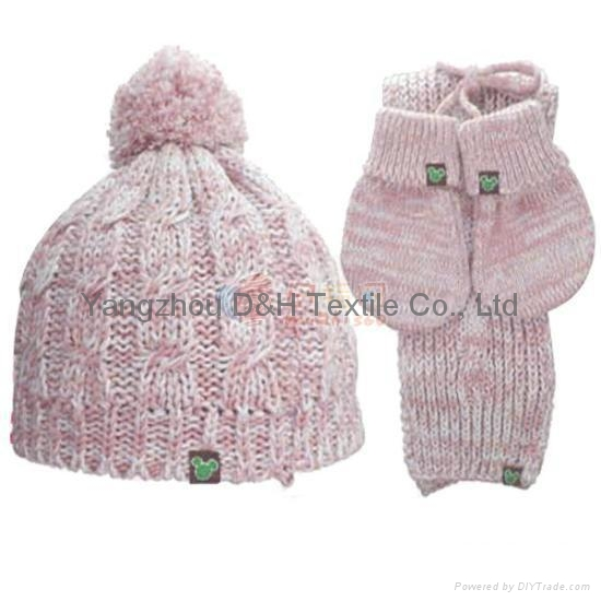Lady Fashional Hook Flower Knitted 3 piece Set/Knitted Hat/ Knitted Gloves 2