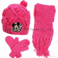 Lady Handmade Hook Flower Knitted 3 piece Set/Knitted Hat/ Knitted Gloves
