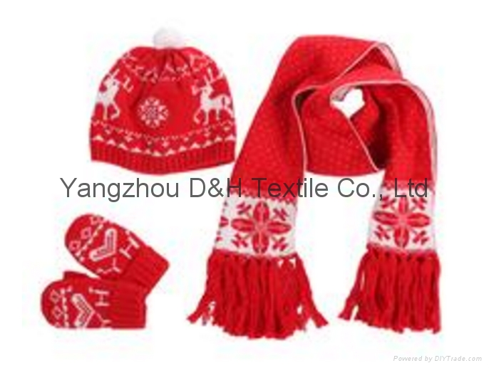 Popular Hook Flower Knitted 3piece Set/knitted Hat 3