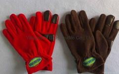 Honest quality  polar fleece Fuzzy  gloves with Embroidery