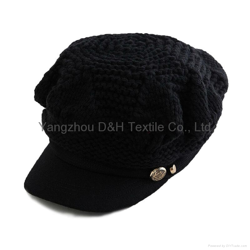 Fashion handwork knitted cap/Reversible Knitted Hat 4