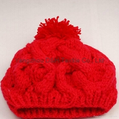 Crochet knitted hat wit