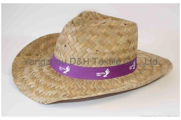 mens dress Wholesale panama Straw Hat with Rubber logo and printing brim 2