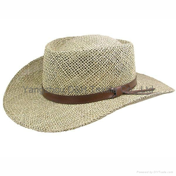 mens dress Wholesale panama Straw Hat with Rubber logo and printing brim 3