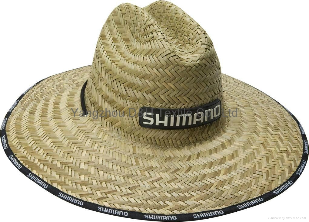 mens dress Wholesale panama Straw Hat with Rubber logo and printing brim