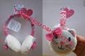 Cartoon Knitted baby witner crochet beanie warm Stripe Ear Muff 2
