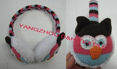 Cartoon Knitted baby witner crochet beanie warm Stripe Ear Muff