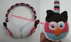 Cartoon Knitted baby witner crochet beanie warm Stripe Ear Muff