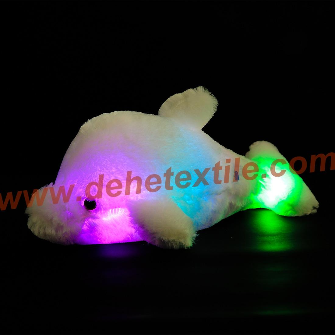 Creative Colorful LED Light Stuffed Animal Toy Glowing Dolphin Plush Toys 4