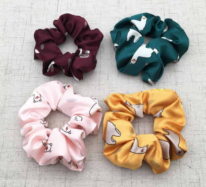 Custom printing satin silk cotton spot design hair scrunchies (DH-LH6198) 1