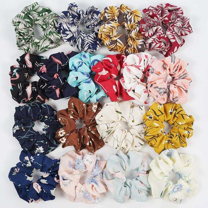 Custom printing satin silk cotton spot design hair scrunchies (DH-LH6198) 2