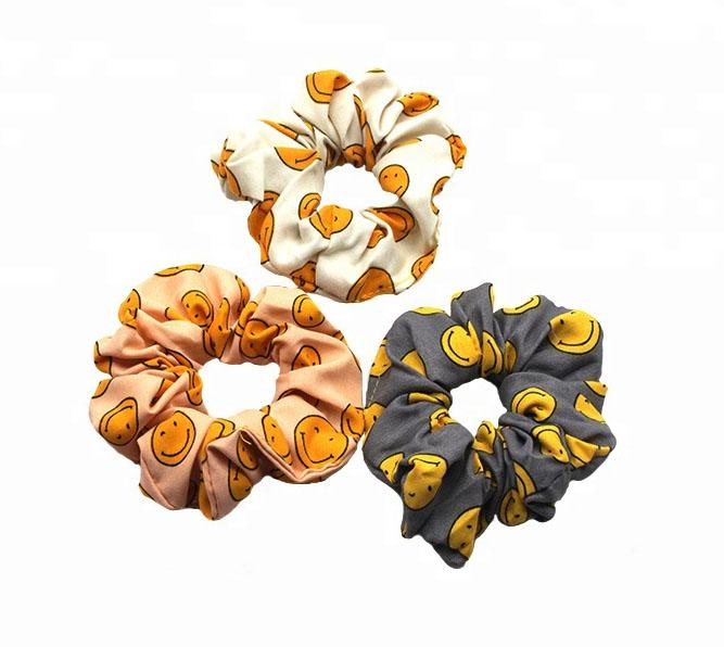 Custom printing satin silk cotton spot design hair scrunchies (DH-LH6198) 3