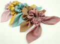 Custom printing satin silk cotton spot design hair scrunchies (DH-LH6198)