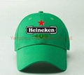 Cotton Embroidery Gorros Heineken Beer Promotion Sport Football Jockey Caps
