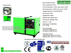 GreenPower LPG, NG (natural gas), Biogas generator set with CE, GS, EPA, CARB