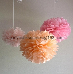 Pom Poms Ball-Spring Pink Tissue Paper Pom Poms Flower-More Colors Available