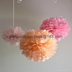 Pom Poms Ball-Spring Pink Tissue Paper Pom Poms Flower-More Colors Available
