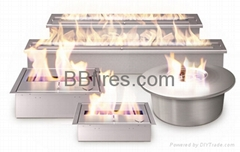 Remote controlled ethanol burner with electronic ignition