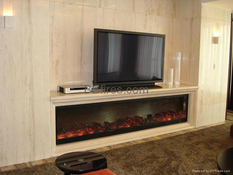 在电视机下的壁炉案例