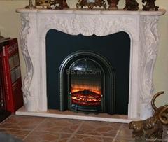 Custom made fireplace mantel & heater