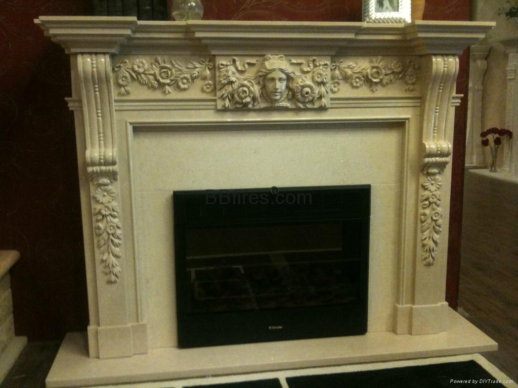 Stock White Wooden fireplace combination(Mantel and heater ...