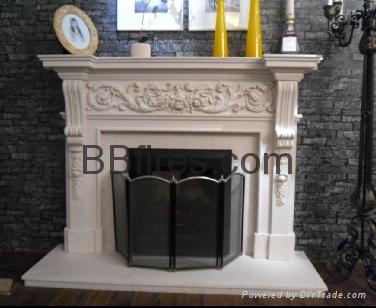 白色木壁炉组合 17