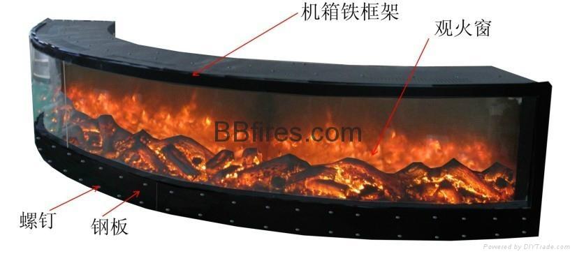 自定弧形壁炉