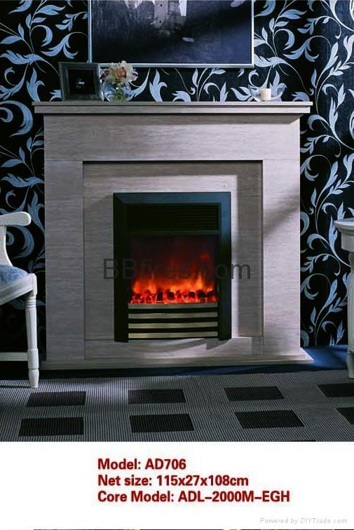 白色木壁炉组合 7