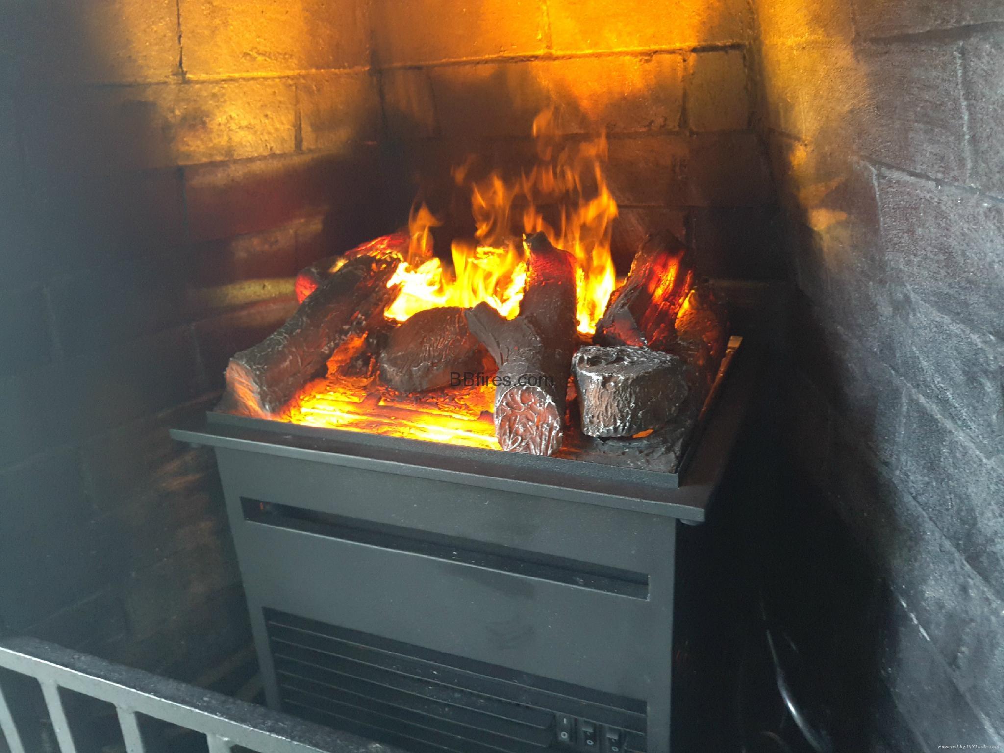 香港海景別墅BB 3D電壁爐取暖器真火壁爐洞口改造現場案例