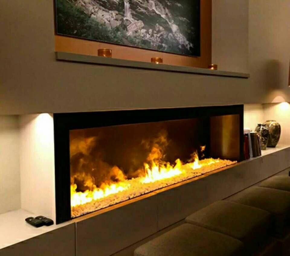 3D White Stone 3 dimensional fireplace 4